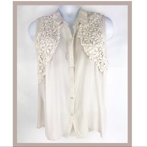 Cato Sleeveless Blouse Embroidered Flower Detail